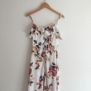 White floral button up maxi dress with slit small